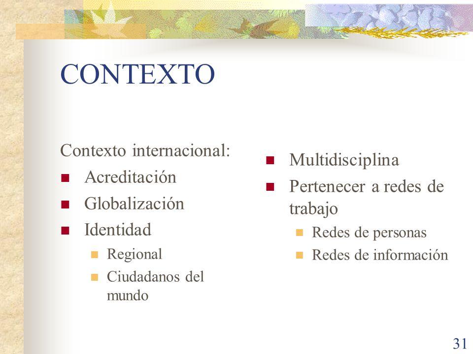 CONTEXTO Contexto internacional: Multidisciplina Acreditación
