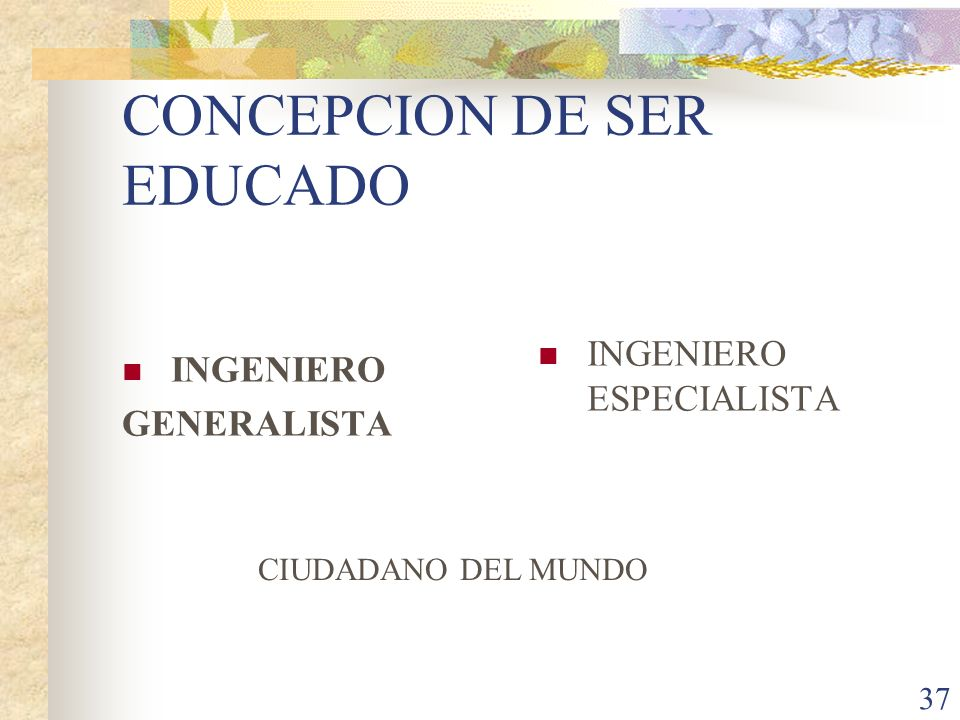 CONCEPCION DE SER EDUCADO