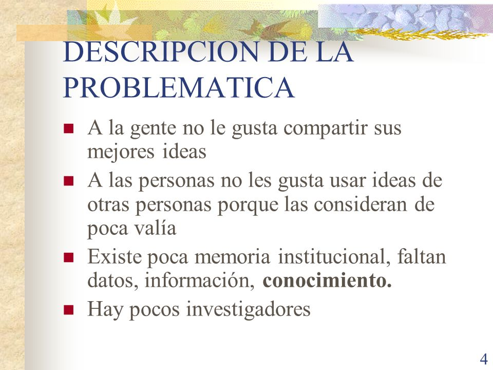 DESCRIPCION DE LA PROBLEMATICA