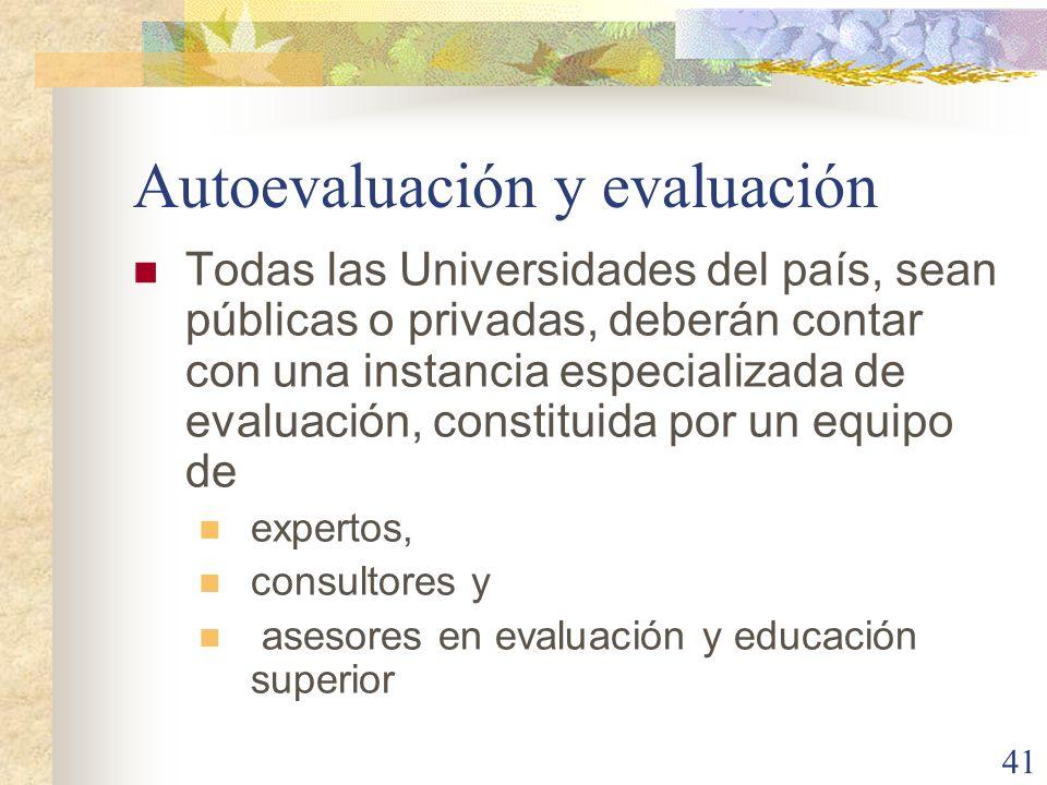 Autoevaluación y evaluación