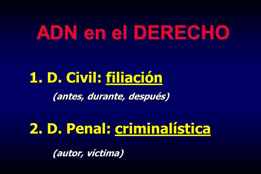 ADN en el DERECHO D. Civil: filiación 2. D. Penal: criminalística