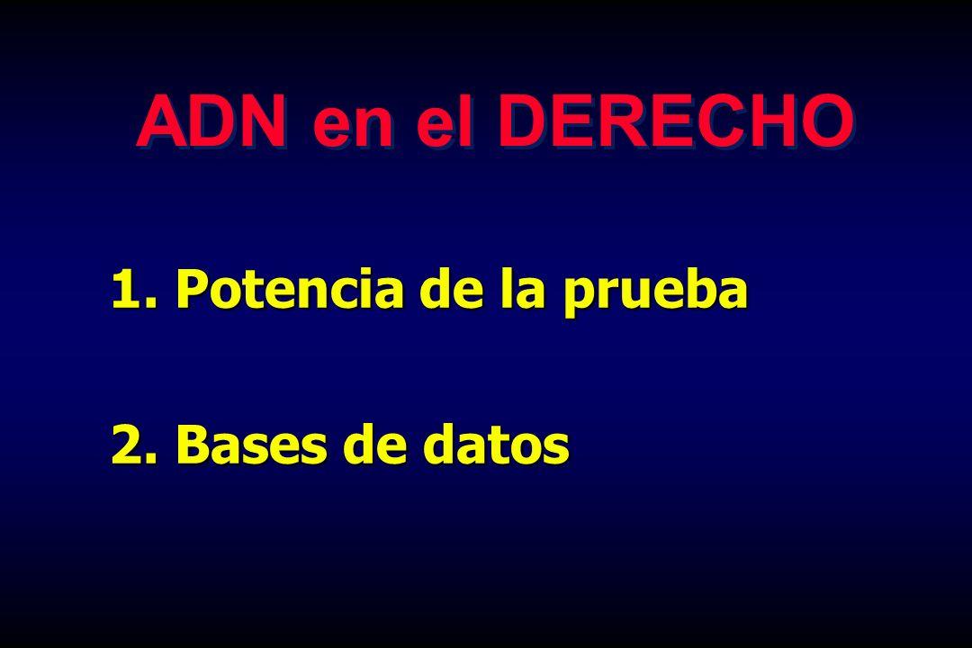 ADN en el DERECHO Potencia de la prueba 2. Bases de datos