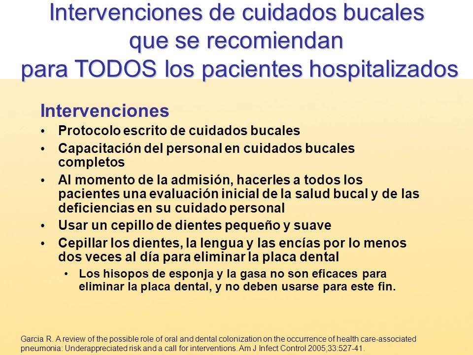 Intervenciones de cuidados bucales que se recomiendan para TODOS los pacientes hospitalizados