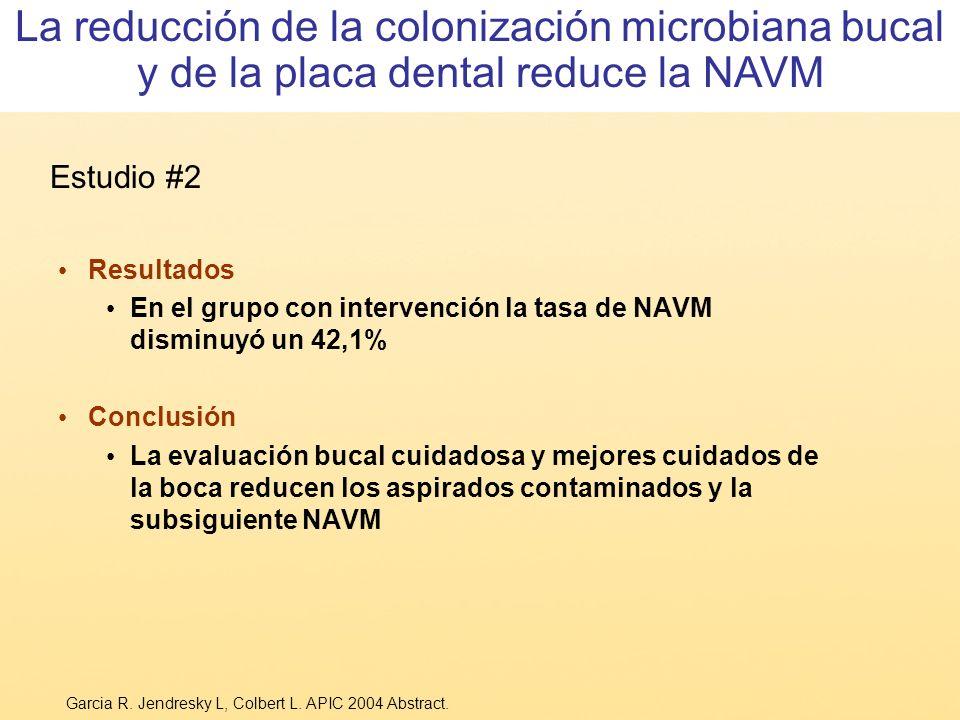 La reducción de la colonización microbiana bucal y de la placa dental reduce la NAVM