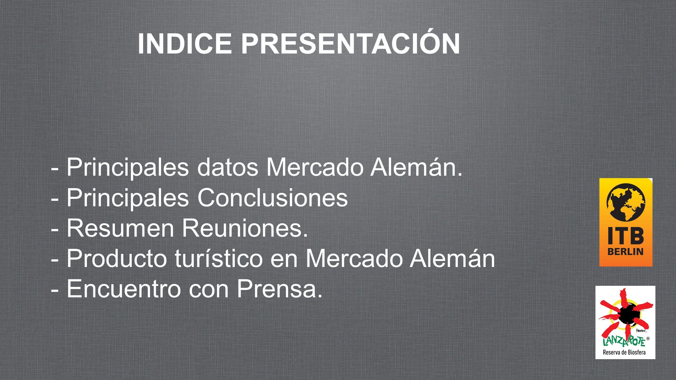 INDICE PRESENTACIÓN Principales datos Mercado Alemán.