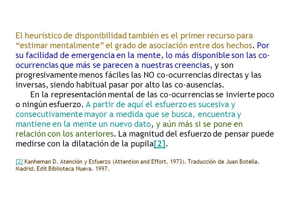 El heurístico de disponibilidad también es el primer recurso para estimar mentalmente el grado de asociación entre dos hechos.