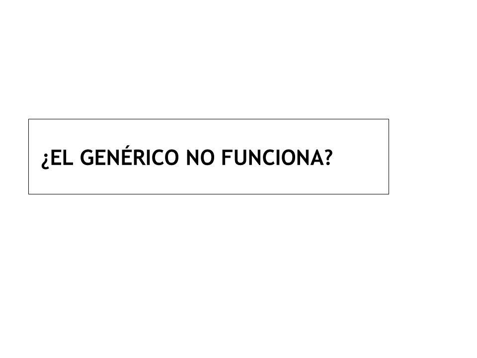 ¿EL GENÉRICO NO FUNCIONA