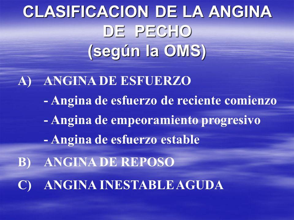 CLASIFICACION DE LA ANGINA DE PECHO (según la OMS)