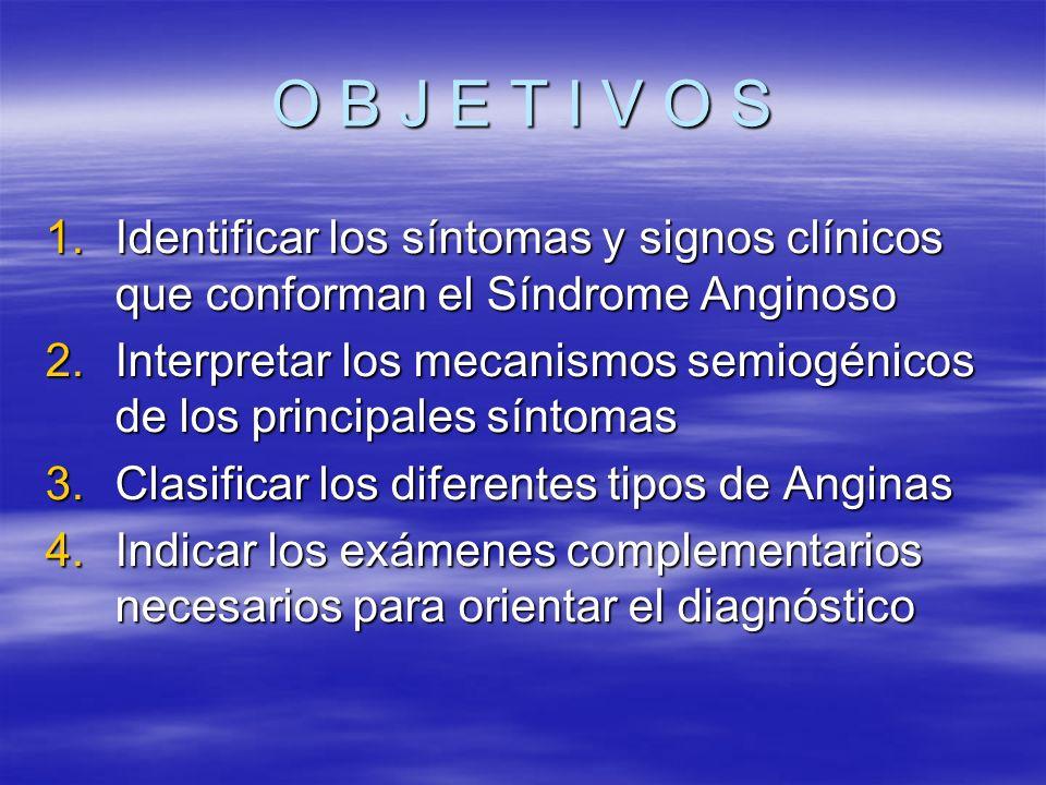 O B J E T I V O S Identificar los síntomas y signos clínicos que conforman el Síndrome Anginoso.