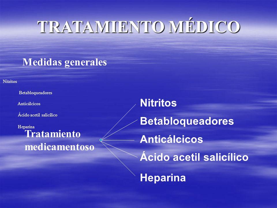 TRATAMIENTO MÉDICO Medidas generales Nitritos Betabloqueadores