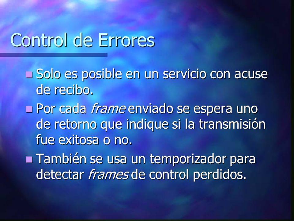 Control de Errores Solo es posible en un servicio con acuse de recibo.