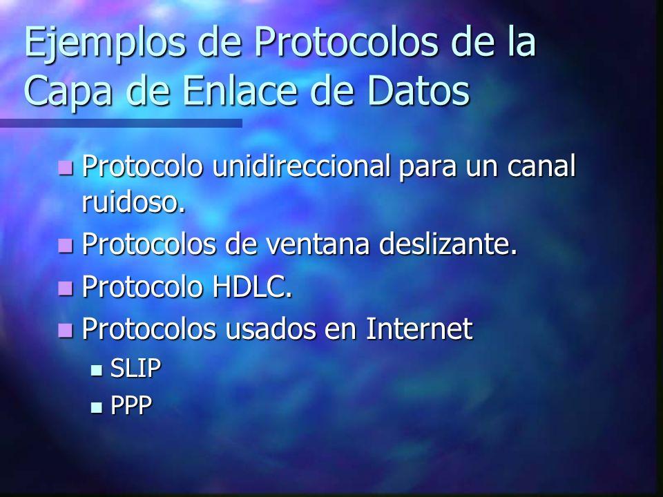 Ejemplos de Protocolos de la Capa de Enlace de Datos