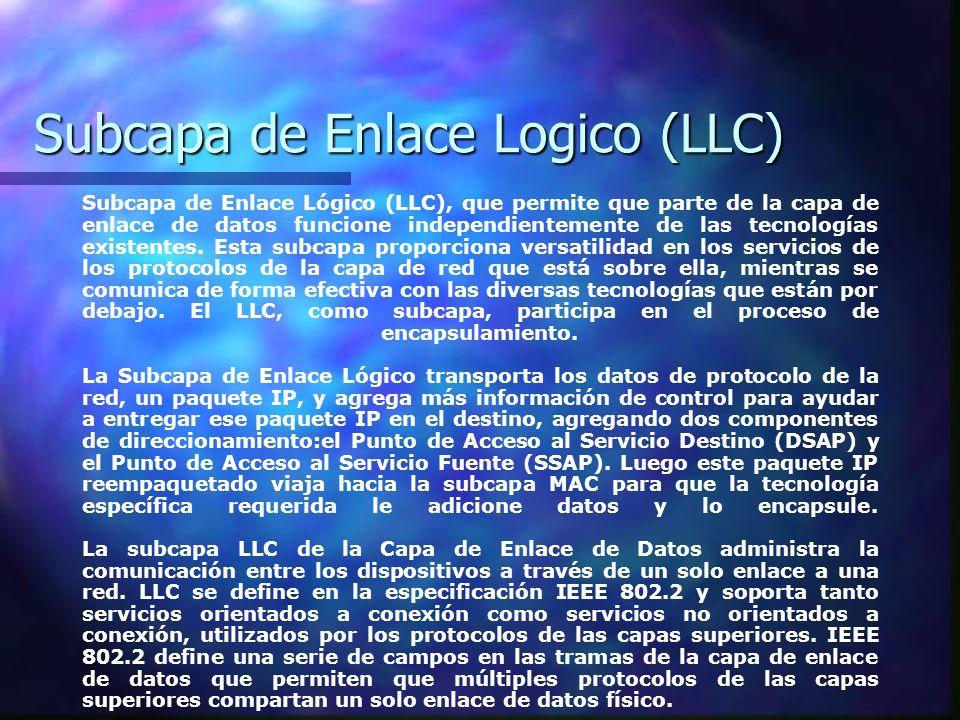 Subcapa de Enlace Logico (LLC)