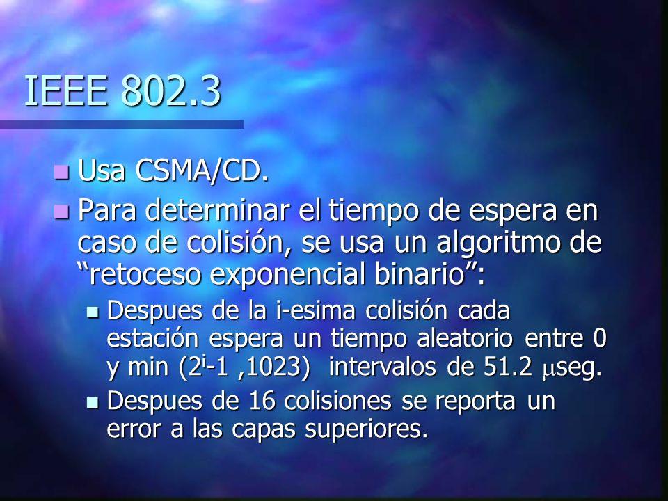 IEEE 802.3 Usa CSMA/CD. Para determinar el tiempo de espera en caso de colisión, se usa un algoritmo de retoceso exponencial binario :