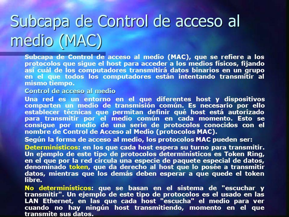 Subcapa de Control de acceso al medio (MAC)