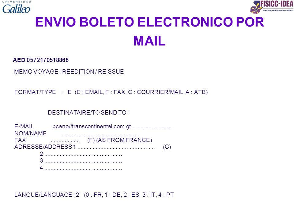ENVIO BOLETO ELECTRONICO POR MAIL