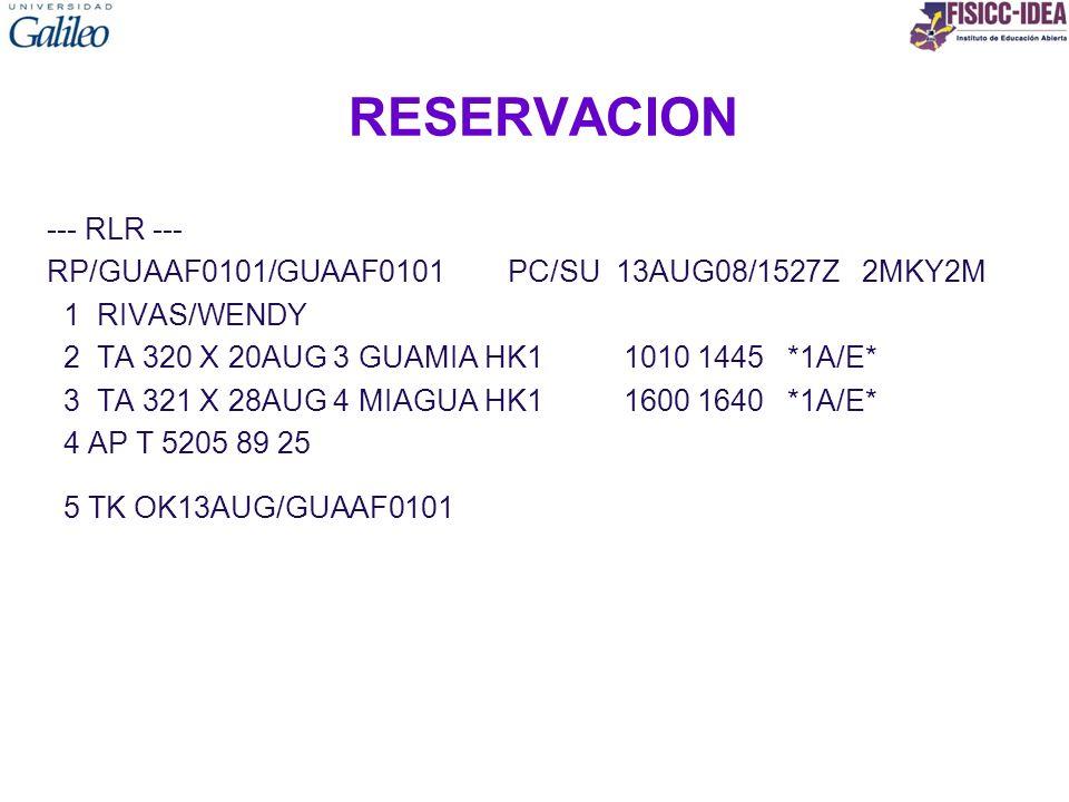 RESERVACION --- RLR ---