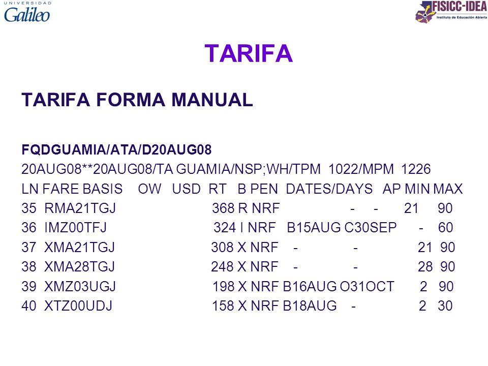 TARIFA TARIFA FORMA MANUAL FQDGUAMIA/ATA/D20AUG08