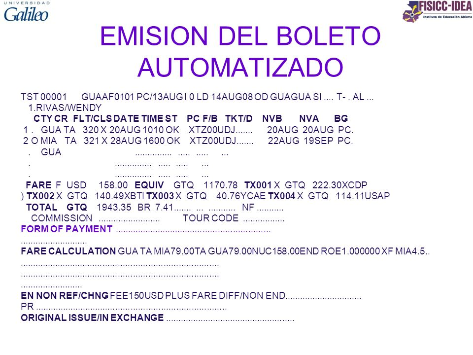 EMISION DEL BOLETO AUTOMATIZADO