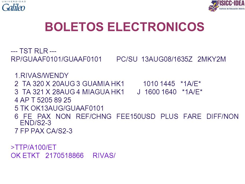 BOLETOS ELECTRONICOS --- TST RLR ---
