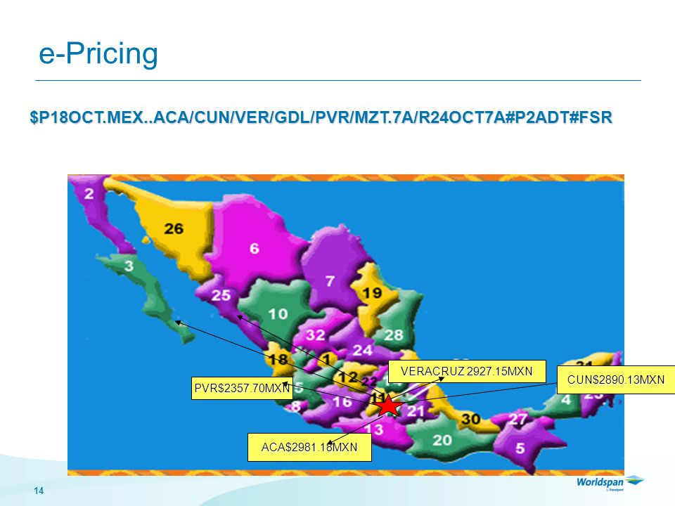 e-Pricing $P18OCT.MEX..ACA/CUN/VER/GDL/PVR/MZT.7A/R24OCT7A#P2ADT#FSR
