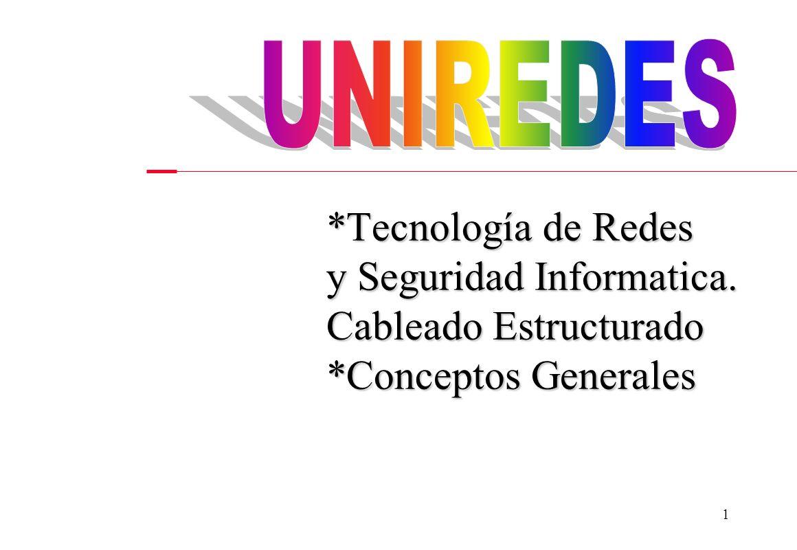 UNIREDES *Tecnología de Redes y Seguridad Informatica. Cableado Estructurado *Conceptos Generales