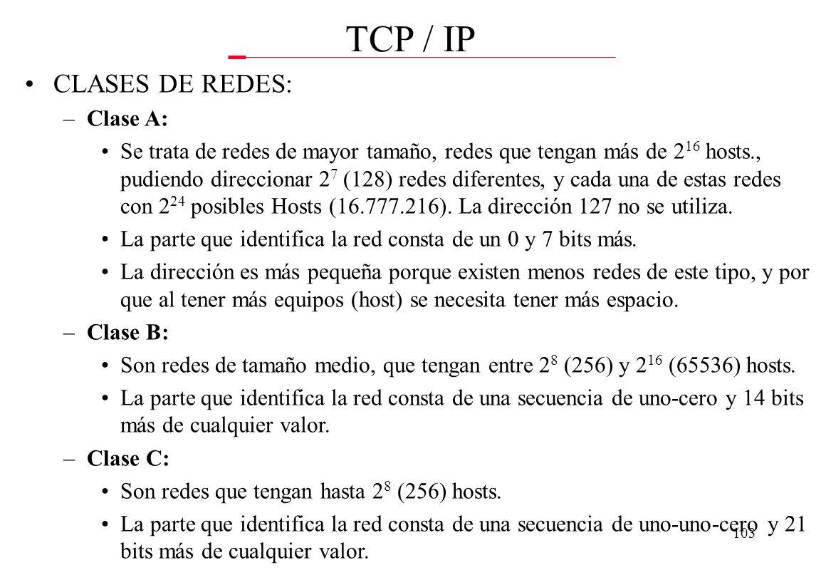 TCP / IP CLASES DE REDES: Clase A:
