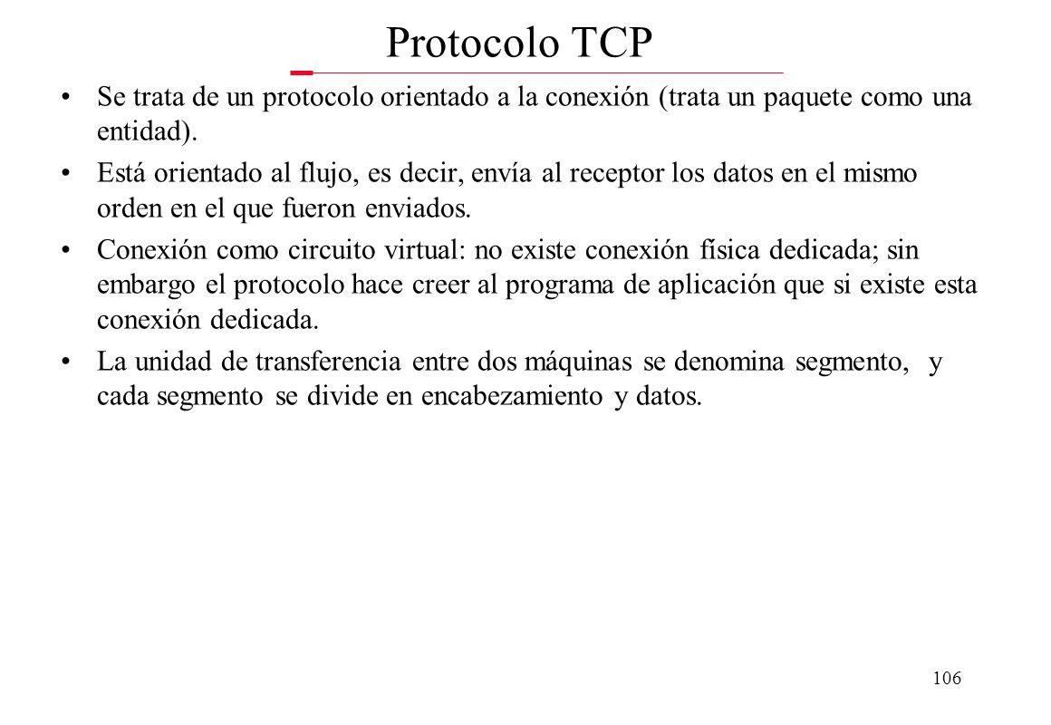 Protocolo TCP Se trata de un protocolo orientado a la conexión (trata un paquete como una entidad).