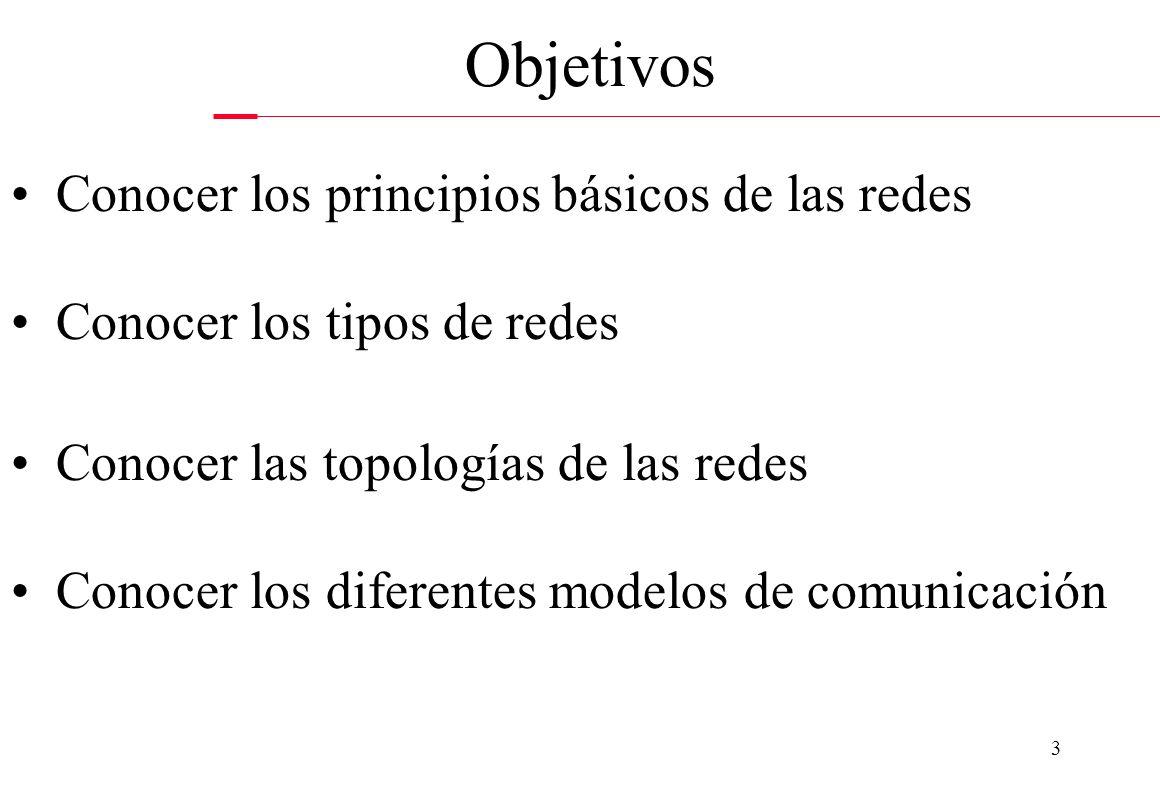 Objetivos Conocer los principios básicos de las redes