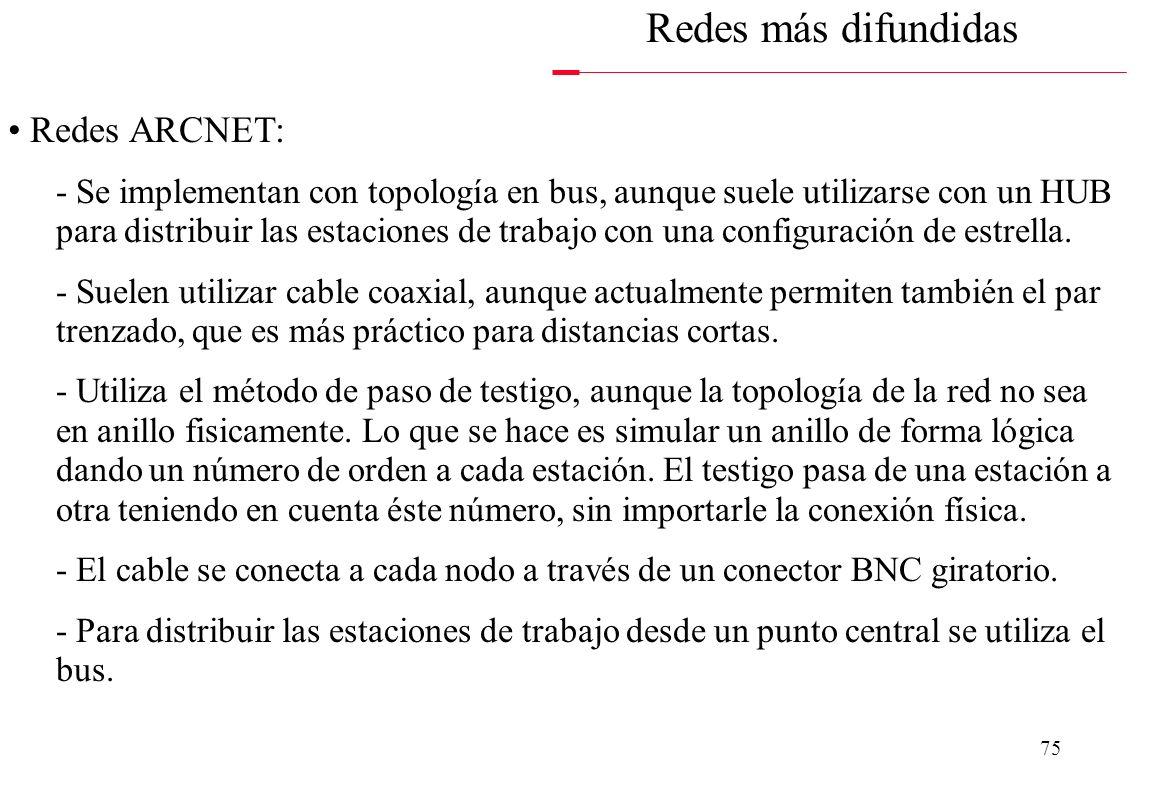 Redes más difundidas Redes ARCNET: