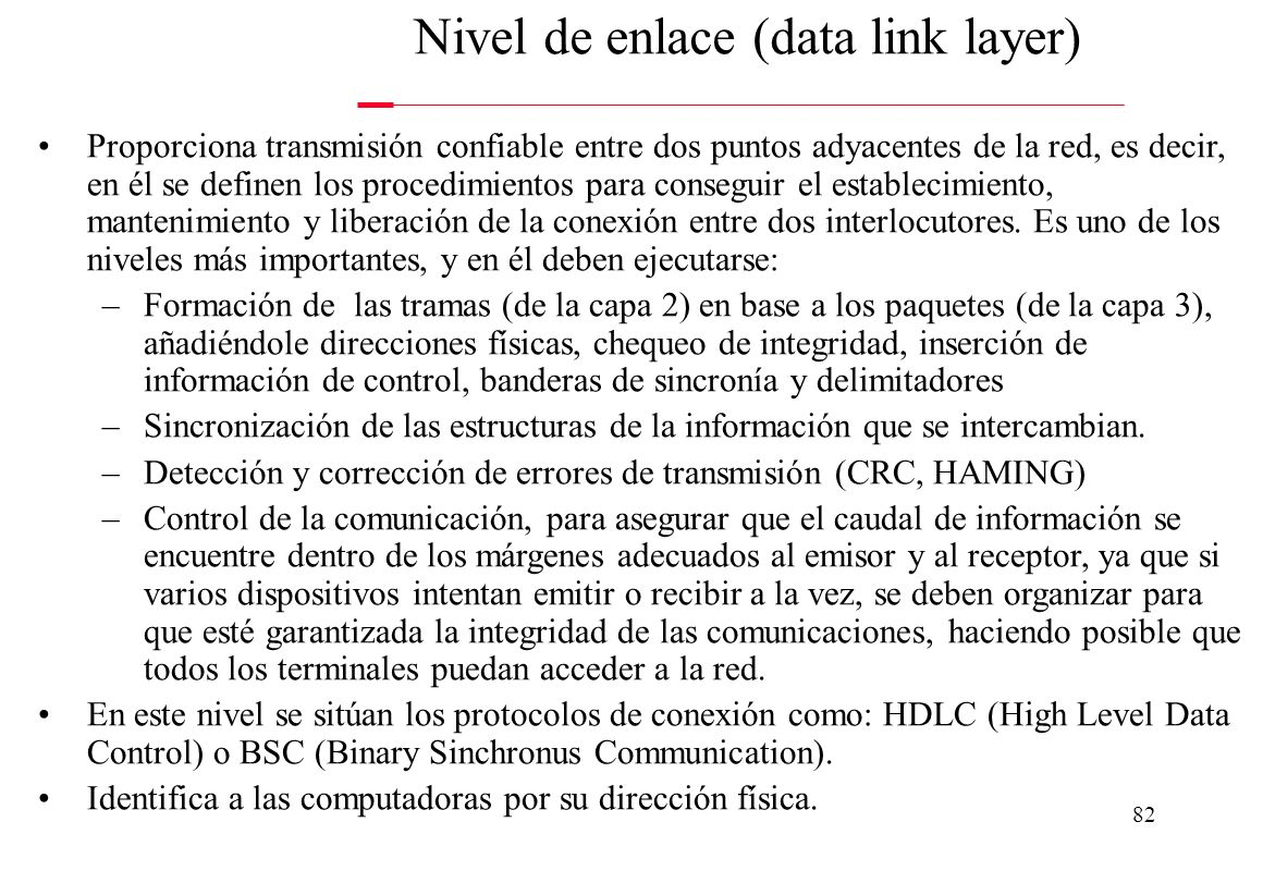 Nivel de enlace (data link layer)