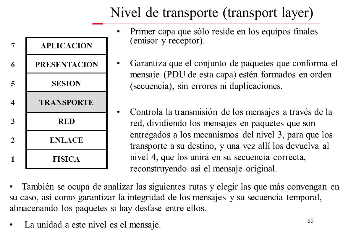 Nivel de transporte (transport layer)