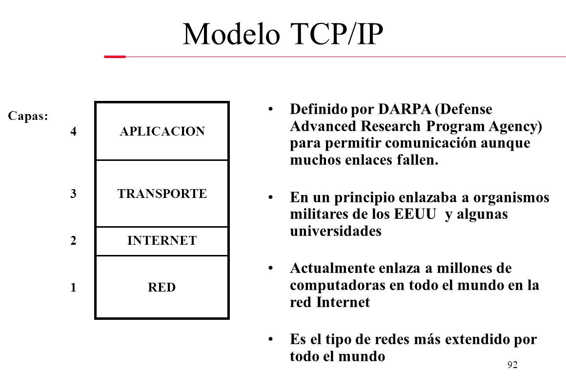 Modelo TCP/IP Definido por DARPA (Defense Advanced Research Program Agency) para permitir comunicación aunque muchos enlaces fallen.
