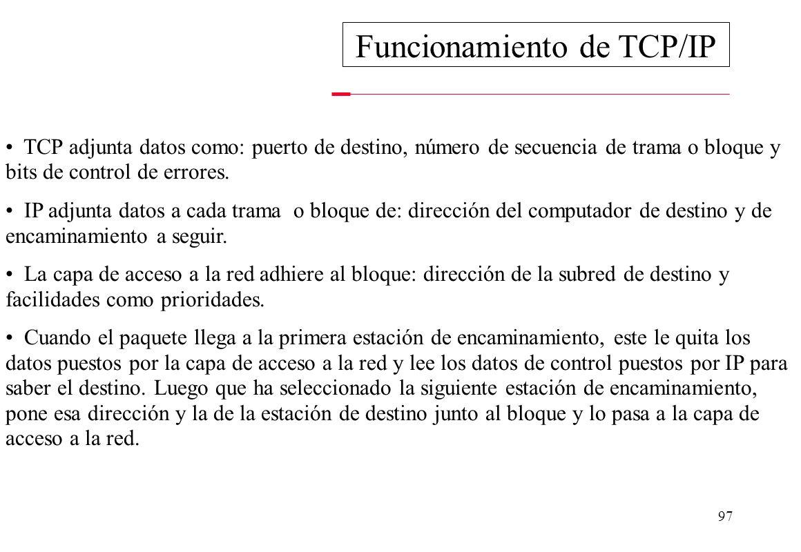 Funcionamiento de TCP/IP