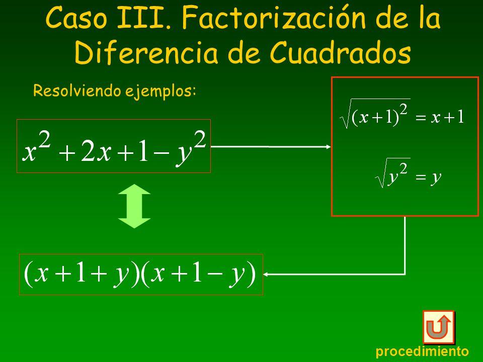 Caso III. Factorización de la Diferencia de Cuadrados