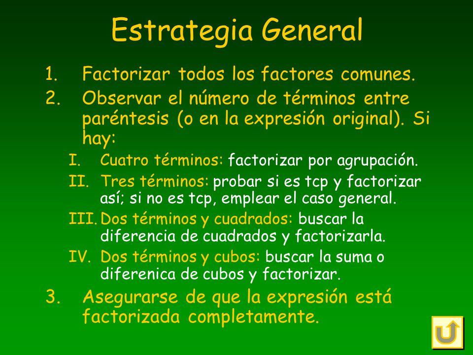 Estrategia General Factorizar todos los factores comunes.