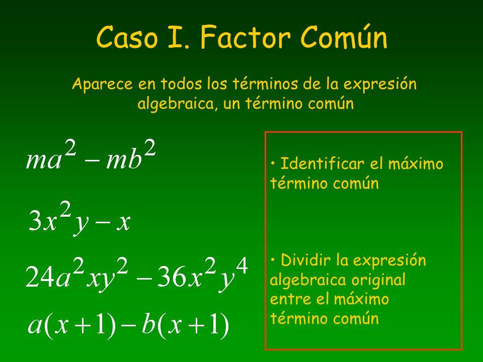 Caso I. Factor Común Aparece en todos los términos de la expresión algebraica, un término común. Identificar el máximo término común.
