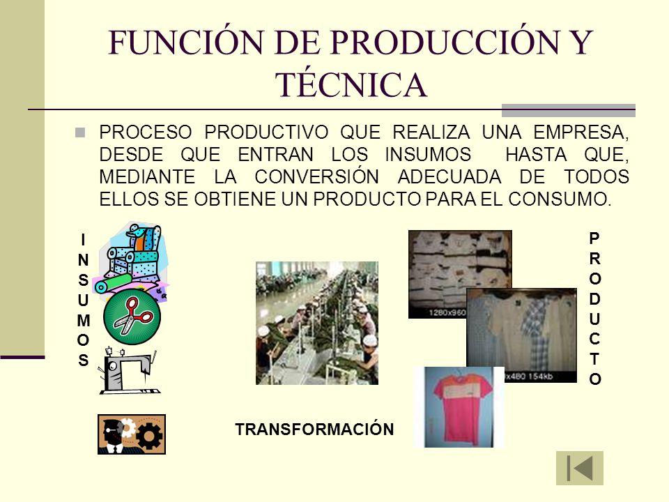 FUNCIÓN DE PRODUCCIÓN Y TÉCNICA