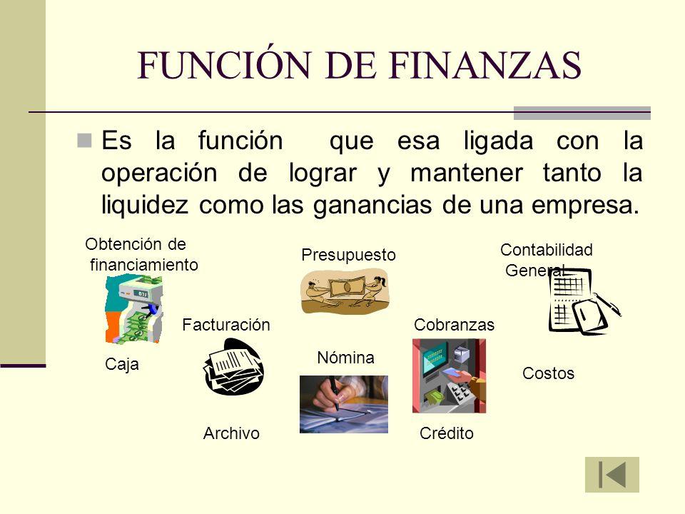 FUNCIÓN DE FINANZASEs la función que esa ligada con la operación de lograr y mantener tanto la liquidez como las ganancias de una empresa.