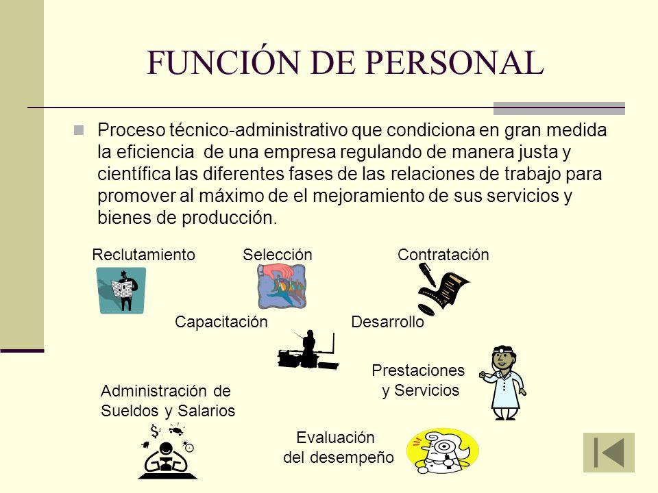 FUNCIÓN DE PERSONAL