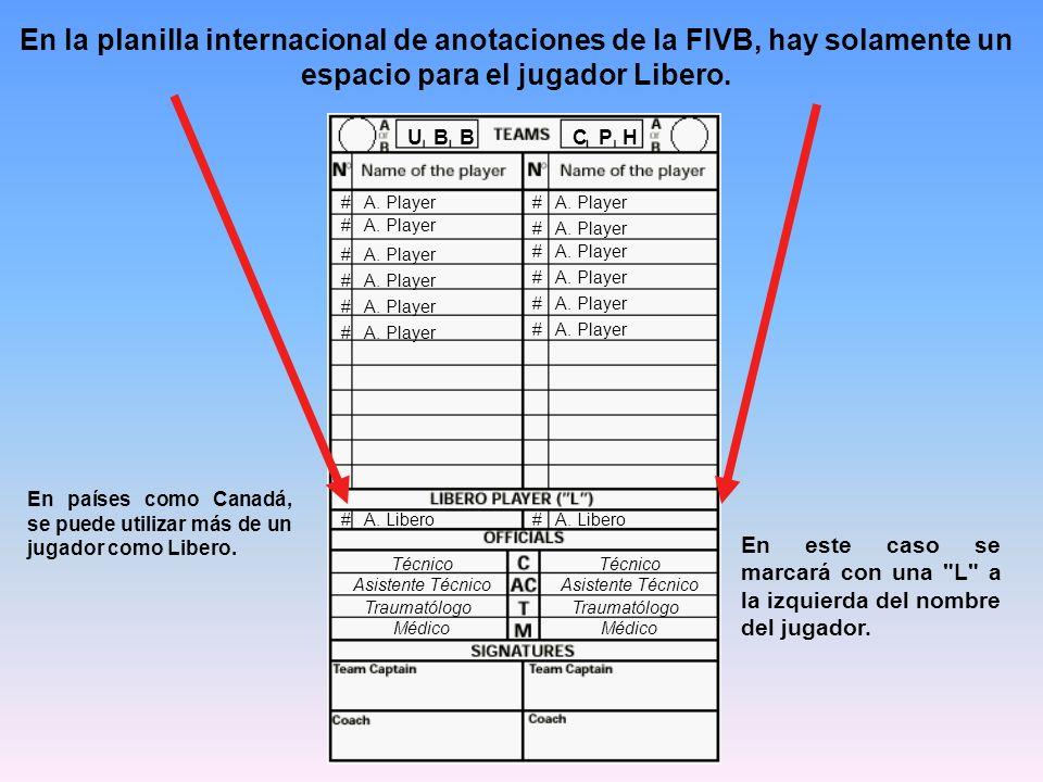 En la planilla internacional de anotaciones de la FIVB, hay solamente un espacio para el jugador Libero.