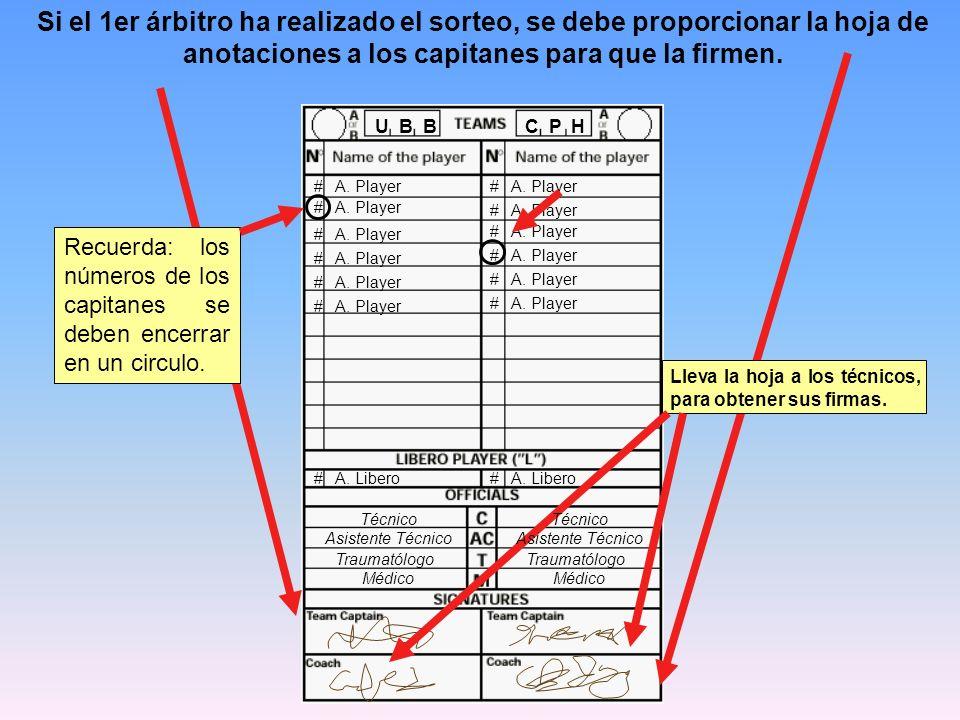 Si el 1er árbitro ha realizado el sorteo, se debe proporcionar la hoja de anotaciones a los capitanes para que la firmen.