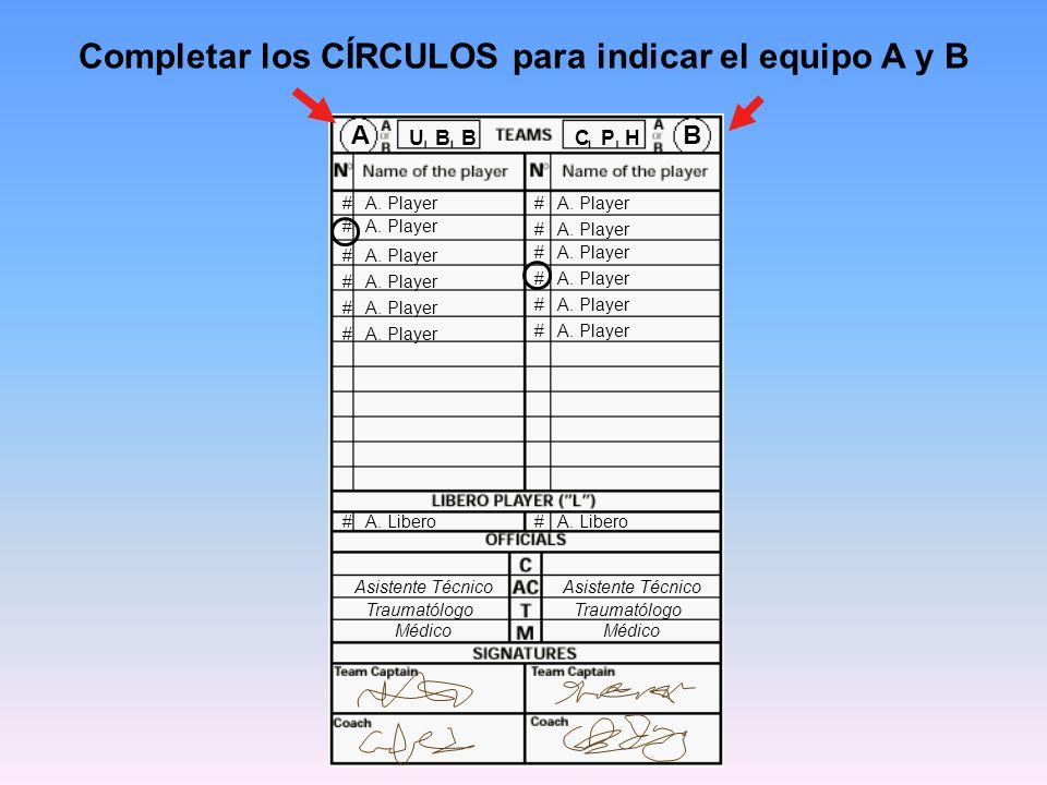 Completar los CÍRCULOS para indicar el equipo A y B