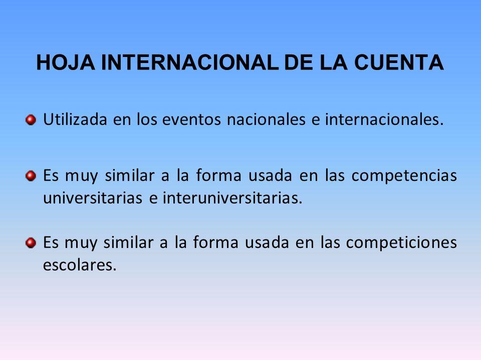 HOJA INTERNACIONAL DE LA CUENTA