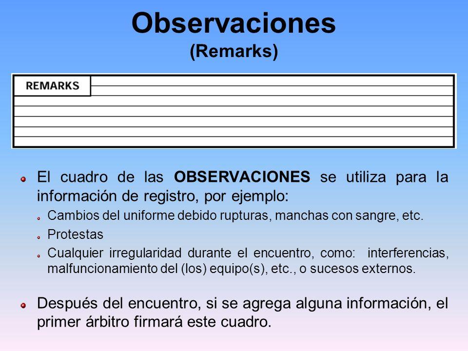 Observaciones (Remarks)