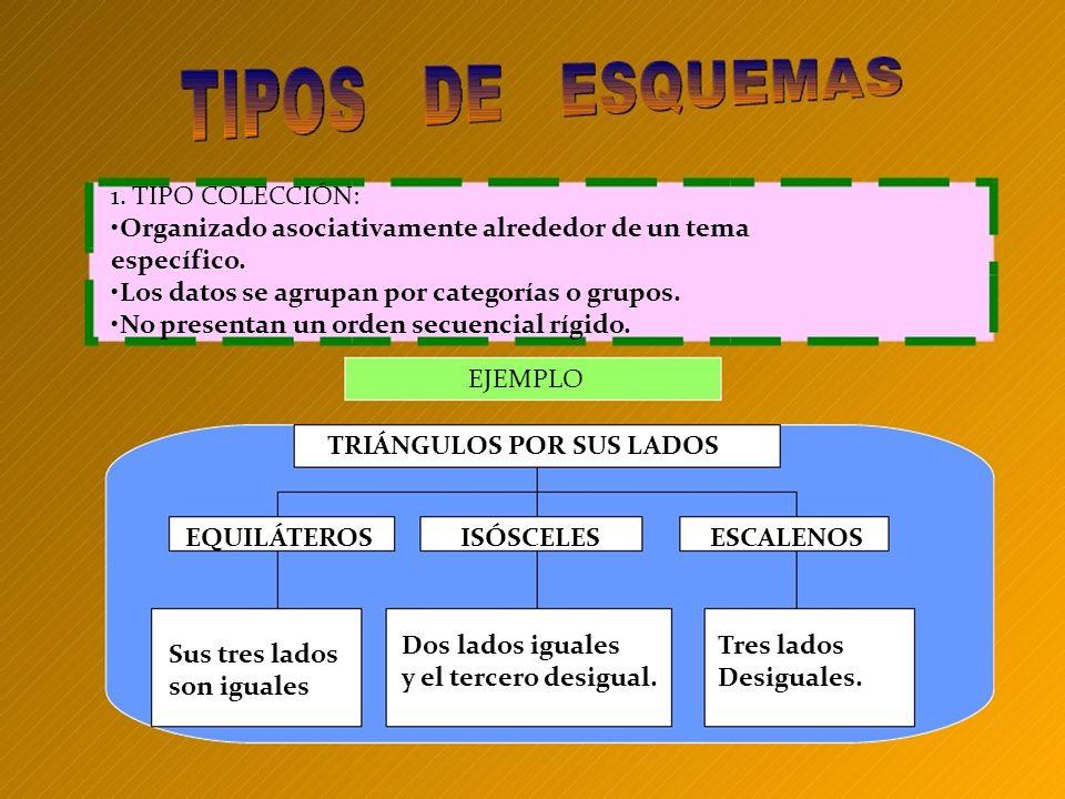 1. TIPO COLECCIÓN: •Organizado asociativamente alrededor de un tema. específico. •Los datos se agrupan por categorías o grupos.