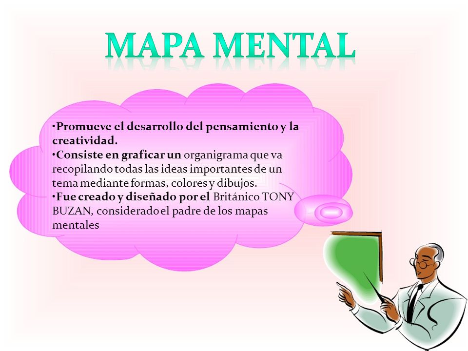 Mapa mental •Promueve el desarrollo del pensamiento y la creatividad.