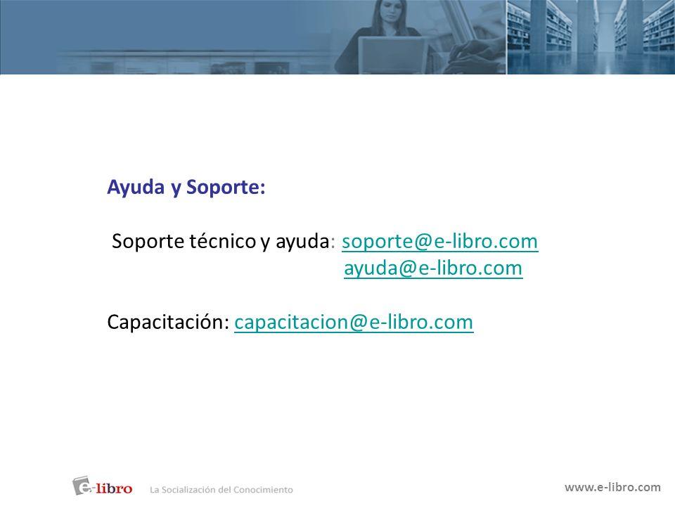 Soporte técnico y ayuda: soporte@e-libro.com ayuda@e-libro.com