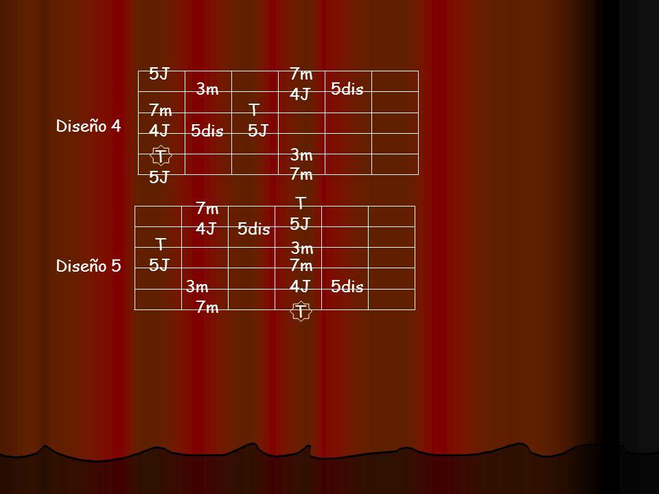 5J7m. 3m. 5dis. 4J. 7m. T. Diseño 4. 4J. 5dis. 5J. T. 3m. 5J. 7m. T. 7m. 5J. 4J. 5dis. T. 3m. Diseño 5.