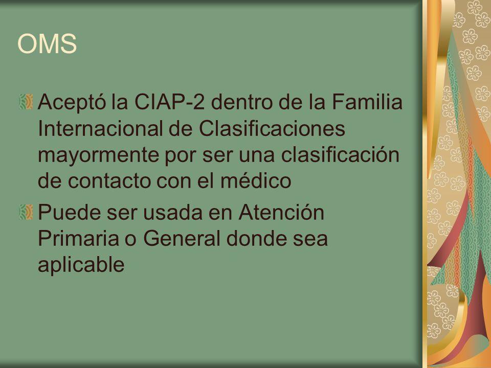OMS Aceptó la CIAP-2 dentro de la Familia Internacional de Clasificaciones mayormente por ser una clasificación de contacto con el médico.